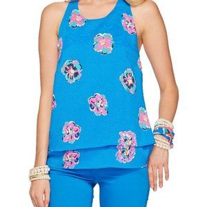 Lilly Pulitzer tiered, floral racerback tank w/bow